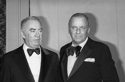 New York Governor Hugh Carey, left, and entertainer Frank Sinatra are shown at the Waldorf dinner dance in honor of Hugh Carey for Governor, Oct. 30, 1978. &#40;AP Photo&#47;G. Paul Burnett&#41; <span class=meta>(AP Photo&#47; G. Paul Burnett)</span>
