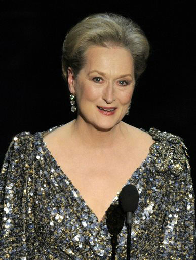 FILE - In a Feb. 24, 2013, file photo  Meryl Streep appears at the Oscars at the Dolby Theatre  in Los Angeles.  Streep was nominated for a Golden Globe for best actress in a motion picture musical or comedy for her role in ?August: Osage County&#34; on Thursday, Dec. 12, 2013.  The 71st annual Golden Globes will air on Sunday, Jan. 12.&#40;Photo by Chris Pizzello&#47;Invision&#47;AP, File&#41; <span class=meta>(Photo&#47;Chris Pizzello)</span>