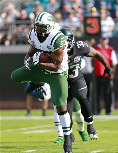 "<div class=""meta ""><span class=""caption-text "">New York Jets inside linebacker Bart Scott, left, intercepts a pass in front of Jacksonville Jaguars fullback Greg B. Jones (33) during the first half of an NFL football game, Sunday, Dec. 9, 2012, in Jacksonville, Fla. (AP Photo/John Raoux) (AP Photo/ John Raoux)</span></div>"