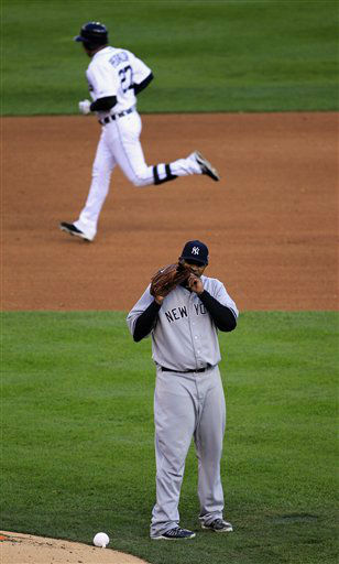 "<div class=""meta ""><span class=""caption-text "">New York Yankees' CC Sabathia steps from the mound after giving up a two run home run to Detroit Tigers' Jhonny Peralta in the fourth inning during Game 4 of the American League championship series Thursday, Oct. 18, 2012, in Detroit. (AP Photo/Carlos Osorio) (AP Photo/ Carlos Osorio)</span></div>"