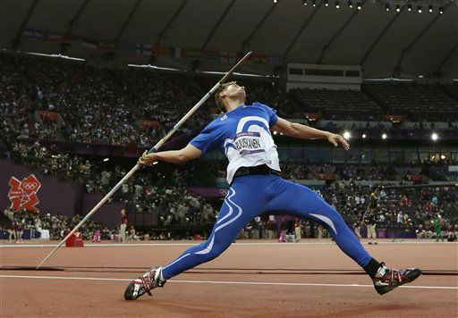 "<div class=""meta ""><span class=""caption-text "">Finland's Antti Ruuskanen takes a throw in the men's javelin throw final during the athletics in the Olympic Stadium at the 2012 Summer Olympics, London, Saturday, Aug. 11, 2012. (AP Photo/David J. Phillip) (AP Photo/ David J. Phillip)</span></div>"