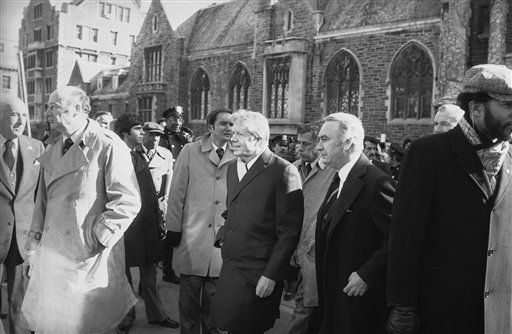President Jimmy Carter, center, is accompanied by New York City Mayor Edward Koch, left, and New York Governor Hugh Carey, right, as they enter the Riverside Church in New York on Feb. 2, 1979. The three were in attendance for a memorial service in honor of Nelson Rockefeller, four-time governor of New York and vice president under Gerald Ford. &#40;AP Photo&#41; <span class=meta>(Photo&#47;Anonymous)</span>