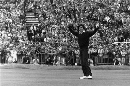 This July 21, 1979, file photo shows Seve Ballesteros, of Spain, reacting as he wins the British Open golf championship at Royal Lytham and St. Anne&#39;s in Lancashire, England. Ballesteros died, early Saturday May 7, 2011 according to a statement on his website. The 54-year-old Spanish golf great had been resting at his home in Pedrena, northern Spain, where he has mostly been since undergoing four operations to remove a brain tumor in late 2008.  &#40;AP Photo&#47;File&#41; <span class=meta>(AP Photo&#47; XNBG PW JF**LON** PK**NY** MM**N)</span>