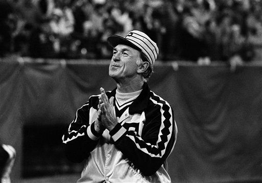 Pirates&#39; manager Chuck Tanner hold his hands as if to pray, Oct. 14, 1979, just after Bucs whipped the Baltimore Orioles, 7-1, in the fifth game of World Series in Pittsburgh.  Baltimore won the series four games to three. <span class=meta>(AP Photo&#47; Anonymous)</span>