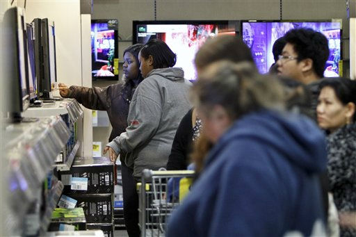 Customers shop for Black Friday discounts at a Best Buy store, Friday Nov 23, 2012, in Northeast Philadelphia.  &#40;AP Photo&#47; Joseph Kaczmarek&#41; <span class=meta>(AP Photo&#47; Joseph Kaczmarek)</span>