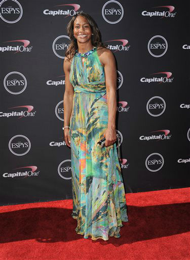 Indiana Fever&#39;s Tamika Catchings arrives at the ESPY Awards on Wednesday, July 17, 2013, at Nokia Theater in Los Angeles. &#40;Photo by Jordan Strauss&#47;Invision&#47;AP&#41; <span class=meta>(Photo&#47;Jordan Strauss)</span>