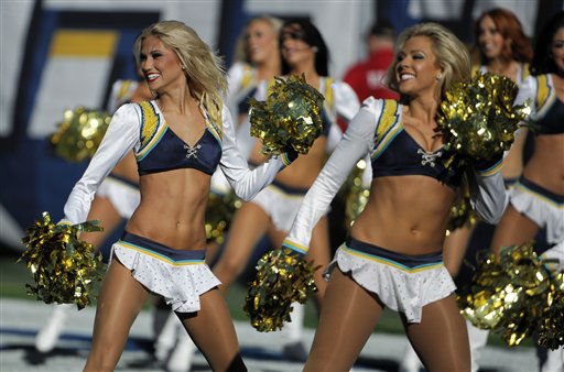 "<div class=""meta image-caption""><div class=""origin-logo origin-image ""><span></span></div><span class=""caption-text"">San Diego Chargers cheerleaders perform as the team plays the Cincinnati Bengals during the first half of an NFL football game Sunday, Dec. 2, 2012, in San Diego. (AP Photo/Denis Poroy) (AP Photo/ Denis Poroy)</span></div>"