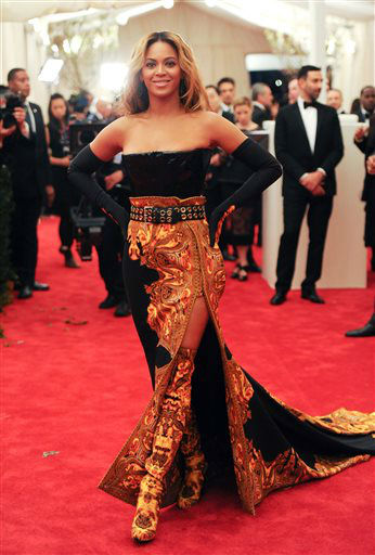 "<div class=""meta image-caption""><div class=""origin-logo origin-image ""><span></span></div><span class=""caption-text"">Singer Beyonce Knowles attends The Metropolitan Museum of Art  Costume Institute gala benefit, ""Punk: Chaos to Couture"", on Monday, May 6, 2013 in New York. (Photo by Evan Agostini/Invision/AP) (Photo/Evan Agostini)</span></div>"