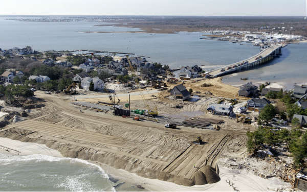 In this aerial photograph, restoration work continues in Mantoloking, N.J., Friday, Nov. 9, 2012, after the region was pounded by Superstorm Sandy last week. Monday&#39;s storm surge from Sandy cut a path through the town from the Atlantic Ocean to the bayside. &#40;AP Photo&#47;Mel Evans&#41; <span class=meta>(AP Photo&#47; Mel Evans)</span>
