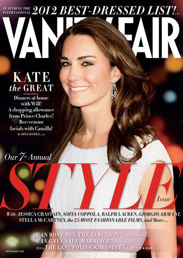 This magazine cover image shows Kate Middleton, the Duchess of Cambridge, on the cover of the September 2012 issue of Vanity Fair. British royalty has made its mark atop Vanity Fair&#39;s International Best Dressed List, with Kate Middleton and her brother-in-law, Prince Harry, both making this year&#39;s slate. The September 2012 issue of Vanity Fair hits newsstands in New York and Los Angeles on August 2 and nationally and on the iPad on August 7.  &#40;AP Photo&#47;Vanity Fair&#41; <span class=meta>(AP Photo&#47; Uncredited)</span>