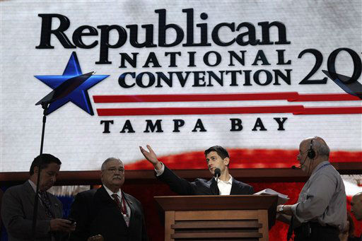 A stage manager, right, helps Republican vice presidential candidate, Rep. Paul Ryan, R-Wis., during a walk through ahead of his delivering a speech at the Republican National Convention, Wednesday, Aug. 29, 2012, in Tampa, Fla.  &#40;AP Photo&#47;Mary Altaffer&#41; <span class=meta>(AP Photo&#47; Mary Altaffer)</span>