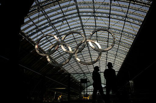 Two police officers patrol at St. Pancras Station in London, Thursday, July 26, 2012. Opening ceremonies for the 2012 London Olympics will be held Friday, July 27. &#40;AP Photo&#47;Emilio Morenatti&#41; <span class=meta>(AP Photo&#47; Emilio Morenatti)</span>