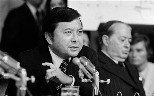 "<div class=""meta image-caption""><div class=""origin-logo origin-image ""><span></span></div><span class=""caption-text"">FILE - In this May 19, 1973 file photo, Sen. Daniel K. Inouye, D-Hawaii, a member of the Watergate investigating committee, questions witness James McCord during the hearing on Capitol Hill in Washington, as John M. Montoya, Democrat of New Mexico, is at right. Inouye, the influential Democrat who broke racial barriers on Capitol Hill and played key roles in congressional investigations of the Watergate and Iran-Contra scandals, died of respiratory complications, Monday, Dec. 17, 2012, according to his office. He was 88. (AP Photo/File) (AP Photo/ Anonymous)</span></div>"