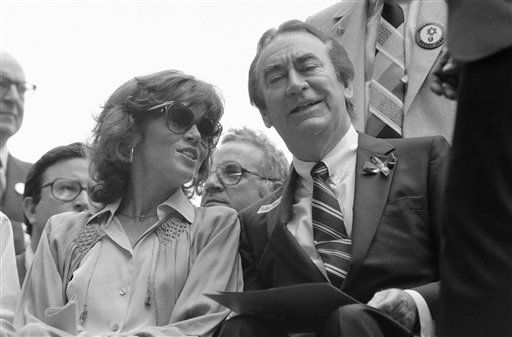 Actress Jane Fonda chats with Gov. Hugh Carey of New York on Sunday, June 1, 1981 in New York at the ?Solidarity Sunday? rally near the United Nations in Manhattan. Some 150,000 demonstrators gathered there to protest treatment of Soviet Jews. Fonda was one of the featured speakers. &#40;AP Photo&#47; Ari Mintz&#41; <span class=meta>(AP Photo&#47; Ari Mintz)</span>