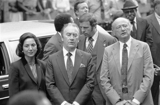 New York City Mayor Edward I. Koch, right, joins Gov. Hugh Carey and Mrs. Evengeline Gouletas Carey at funeral services in New York, Friday, Sept. 11, 1981 for former NAACP Executive Director Roy Wilkins. &#40;AP Photo&#47;Perez&#41; <span class=meta>(AP Photo&#47; Perez)</span>