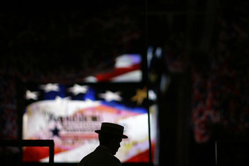 "<div class=""meta ""><span class=""caption-text "">Parker Mothershead of Charlotte, N.C. walks into the stands in the Tampa Bay Times Forum at the Republican National Convention in Tampa, Fla., on Wednesday, Aug. 29, 2012. (AP Photo/David Goldman) (AP Photo/ David Goldman)</span></div>"
