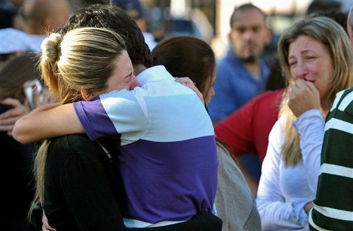 Relatives of victims react near the Kiss nightclub in Santa Maria city,  Rio Grande do Sul state, Brazil, Sunday, Jan. 27, 2013.  According to police more than 200 died in the devastating nightclub fire in southern Brazil.  Officials say the fire broke out at the club while a band was performing. &#40;AP Photo&#47;Ronald Mendes-Agencia RBS&#41; <span class=meta>(AP Photo&#47; Ronald Mendes)</span>