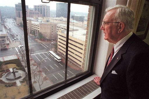 "<div class=""meta image-caption""><div class=""origin-logo origin-image ""><span></span></div><span class=""caption-text"">FILE - In this Feb. 3, 1997 file photo, County Executive Andrew O'Rourke, who led Westchester government for 14 years, looks out his office window in White Plains, N.Y., after announcing that he will not run for re-election. O'Rourke, a Republican, died at Calvary Hospital in the Bronx on Thursday night, Jan. 3, 2013 after a long illness. He was 79. (AP Photo/Doug Kanter, File) (AP Photo/ DOUG KANTER)</span></div>"