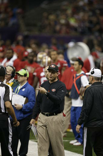 San Francisco 49ers head coach Jim Harbaugh speaks to officials during the second half of  the NFL Super Bowl XLVII football game against the Baltimore Ravens Sunday, Feb. 3, 2013, in New Orleans. &#40;AP Photo&#47;Bill Haber&#41; <span class=meta>(AP Photo&#47; Bill Haber)</span>