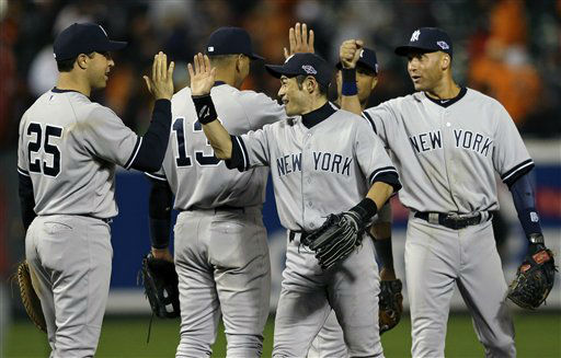 New York Yankees&#39; Mark Teixeira &#40;25&#41;, Ichiro Suzuki, center, of Japan, and Derek Jeter, right, high-five after Game 1 of the American League division baseball series against the Baltimore Orioles early Monday, Oct. 8, 2012, in Baltimore. New York won 7-2. &#40;AP Photo&#47;Patrick Semansky&#41; <span class=meta>(AP Photo&#47; Patrick Semansky)</span>
