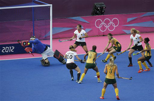 South Africa&#39;s goalkeeper Mariette Rix, saves during a women&#39;s hockey preliminary round match against Germany, at the 2012 Summer Olympics, Thursday, Aug. 2, 2012, in London. &#40;AP Photo&#47;Lefteris Pitarakis&#41; <span class=meta>(AP Photo&#47; Lefteris Pitarakis)</span>