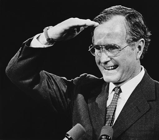 A beaming Vice President George Bush looks out on audience of 8,000 Republicans at the Summit in Houston, Texas, Feb. 10, 1983, before his keynote address at a regional GOP Shareholders Convention.  &#40;AP Photo&#41; <span class=meta>(AP Photo&#47; Anonymous)</span>