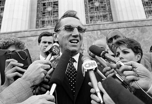 Los Angeles Raiders&#39; owner Al Davis is the center of attention Wednesday afternoon  April 14, 1983 after a Federal Court jury ruled in favor of the team and the Los Angeles Coliseum in an antitrust suit against the National Football League. Jury awards were &#36;11.5 million for the Raiders and about &#36;5 million to the Coliseum, which brought the original suit in 1978. &#40;AP Photo&#47;Nick Ut&#41; <span class=meta>(AP Photo&#47; NICK UT)</span>