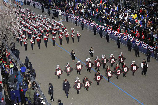 Jackson Memorial High School ,Jaguar, Band, New Jersey  perform while passing the presidential box and the White House during the Inaugural parade, Monday, Jan. 21, 2013, in Washington. Thousands  marched during the 57th Presidential Inauguration parade after the ceremonial swearing-in of President Barack Obama. &#40;AP Photo&#47;Charlie Neibergall &#41; <span class=meta>(AP Photo&#47; Charlie Neibergall)</span>