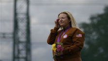 United States of America&#39;s Kimberley Rhode wipes away tears as she listens to the American national anthem playing after winning the gold medal in the women&#39;s skeet, at the 2012 Summer Olympics, Sunday, July 29, 2012, in London. &#40;AP Photo&#47;Rebecca Blackwell&#41; <span class=meta>(AP Photo&#47; Rebecca Blackwell)</span>