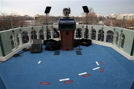 Placemarks are set on the West Front of the Capitol in Washington, Monday, Jan. 21, 2013, in preparation for the President Barack Obama&#39;s ceremonial swearing in during the 57th Presidential Inauguration.  &#40;AP Photo&#47;Win McNamee, Pool&#41; <span class=meta>(AP Photo&#47; Win McNamee)</span>
