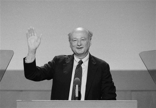 Mayor Ed Koch of New York City raises his hands high while addressing the opening session of the Democratic National Convention at San Francisco&#39;s Moscone Center in San Francisco, Monday, July 16, 1984. &#40;AP Photo&#47;Ira Schwarz&#41; <span class=meta>(AP Photo&#47; Ira Schwarz)</span>