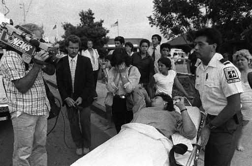 A woman is removed on a stretcher as a friend covers her face while crying at the scene of a shooting rampage at a McDonald&#39;s restaurant Wednesday, July 19, 1984 in San Ysidro, California. A gunman opened fire with an automatic weapon killing 20 and wounding another dozen. &#40;AP Photo&#47;Greg Vojtko&#41; <span class=meta>(AP Photo&#47; GREG VOJTKO)</span>