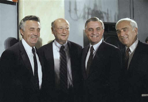 New York City Mayor Ed Koch, second from left,  and Democratic presidential candidate Walter Mondale stand together at morning on Monday, Sept. 17, 1984 in Washington after Mondale spoke at a Leadership for Mondale-Ferraro meeting at a local hotel.  Beside Mondale is Sen. Frank Lautenberg, D-N.J., at far right, and at far left is Sen. Paul Sarbanes, D-MD. &#40;AP Photo&#47;Lana Harris&#41; <span class=meta>(AP Photo&#47; Lana Harris)</span>