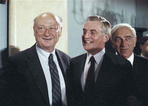 New York City Mayor Ed Koch, left,  and Democratic presidential candidate Walter Mondale stand together at morning on Monday, Sept. 17, 1984 in Washington after Mondale spoke at a Leadership for Mondale-Ferraro meeting at a local hotel.  Behind Mondale is Sen. Frank Lautenberg, D-N.J.   &#40;AP Photo&#47;Lana Harris&#41; <span class=meta>(AP Photo&#47; Lana Harris)</span>