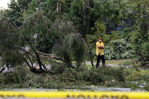 "<div class=""meta ""><span class=""caption-text "">A bystander inspects the damage left in the wake of a tornado that struck Elmira N.Y.,Thursday, July 26, 2012. Power lines and trees were toppled and hospitals were placed on disaster alert but there were no immediate reports of injuries after a possible tornado hit the city of Elmira Thursday afternoon, Chemung County Office of Fire and Emergency Management spokeswoman Karen Miner said. (AP Photo/Heather Ainsworth) (AP Photo/ Heather Ainsworth)</span></div>"