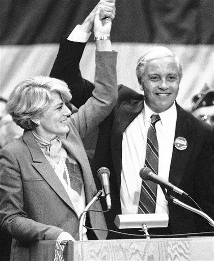 FILE - In this Nov. 14, 1984 file photo, Geraldine Ferraro, Democratic nominee for Vice-President, holds aloft the hand of U.S. Rep. William Ratchford, D-Conn., after she ended a campaign speech in Waterbury, Conn.  Ratchford, who later served in the Clinton administration, died Sunday, Jan. 2, 2011, in Arlington, Va. He was 76. &#40;AP Photo&#47;Bob Child, File&#41; <span class=meta>(AP Photo&#47; Bob Child)</span>