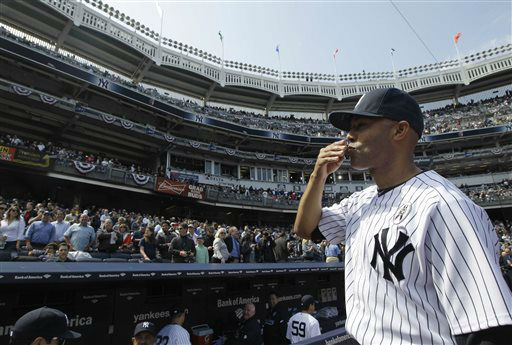 New York Yankees relief pitcher Mariano Rivera, who has said 2013 will be his last season, blows a kiss to the crowd at an Opening Day baseball game at Yankee Stadium in New York, Monday, April 1, 2013.  &#40;AP Photo&#47;Kathy Willens&#41; <span class=meta>(AP Photo&#47; Kathy Willens)</span>