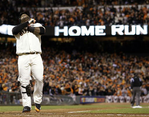 San Francisco Giants&#39; Pablo Sandoval reacts at home after hitting his third home run of the game during the fifth inning of Game 1 of baseball&#39;s World Series against the Detroit Tigers Wednesday, Oct. 24, 2012, in San Francisco. &#40;AP Photo&#47;David J. Phillip&#41; <span class=meta>(AP Photo&#47; David J. Phillip)</span>