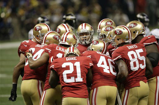 San Francisco 49ers huddle during the second half of the NFL Super Bowl XLVII football game against the Baltimore Ravens Sunday, Feb. 3, 2013, in New Orleans. &#40;AP Photo&#47;Bill Haber&#41; <span class=meta>(AP Photo&#47; Bill Haber)</span>