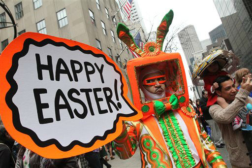 Davey Mitchell, of New York, left, poses for photographs on New York&#39;s Fifth Avenue as he takes part in the Easter Parade Sunday March 31, 2013. &#40;AP Photo&#47;Tina Fineberg&#41; <span class=meta>(AP Photo&#47; Tina Fineberg)</span>