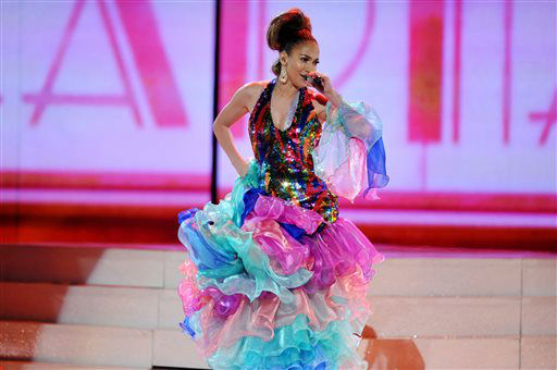 Jennifer Lopez performs on stage at the American Music Awards at the Nokia Theatre L.A. Live on Sunday, Nov. 24, 2013, in Los Angeles. (Photo by John Shearer/Invision/AP)