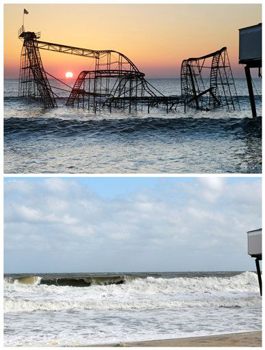 In this combination of Monday, Feb. 25, 2013 and Sunday, Oct. 13, 2013 photos, the sun rises in Seaside Heights, N.J., behind the Jet Star Roller Coaster which had been sitting in the ocean after part of the Casino Pier was destroyed during Superstorm Sandy, and the empty site nearly a year after the storm. (AP Photo/Mel Evans)