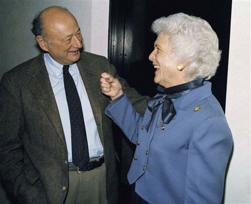 Barbara Bush, wife of U.S.Vice-President George H. Bush, kiddingly aims a punch at New York City Mayor Ed Koch as they met at a radio station in Los Angeles, Tuesday, Jan. 29, 1986. Both were doing a talk show with commentator Michael Jackson. &#40;AP Photo&#47;Michael Tweed&#41; <span class=meta>(AP Photo&#47; Michael Tweed)</span>