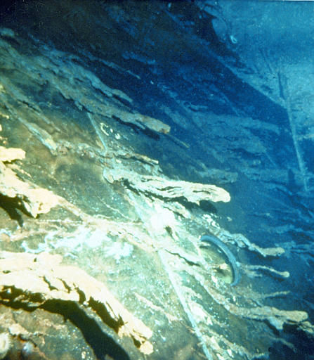 Large icicle-like structures hang from the side of the Titanic seen in one of 12 color slides released Friday, July 19, 1986 by officials of the Woods Hole Oceanographic Institution. Robert Ballard, the expedition leader who led the group that discovered the Titanic&#39;s remains last September, said in a ship-to-shore radio report, &#34; coming up on the side of the ship you can see these iron-sicles that hand down like giant icicles of rust.&#34; &#40;AP Photo&#47;Woods Hole Oceangraphic Inst.&#41; <span class=meta>(AP Photo&#47; XJFM RCC)</span>