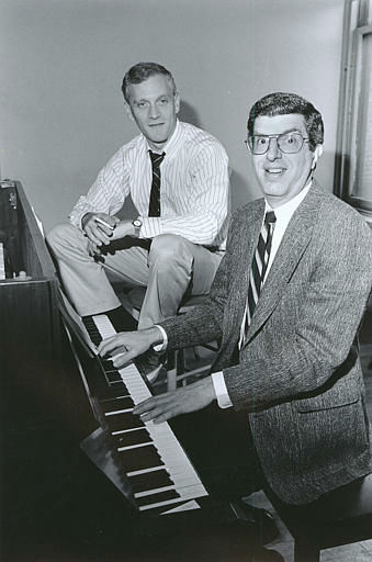 Composer Marvin Hamlisch, right, is shown at the piano with lyricist Howard Ashman in New York City on Sept. 9, 1986.  Hamlisch wrote the music for the new Broadway show &#34;Smiles,&#34; and Ashman wrote the book, lyrics and directed the show.  &#40;AP Photo&#47;Nancy Kaye&#41; <span class=meta>(AP Photo&#47; NANCY KAYE)</span>