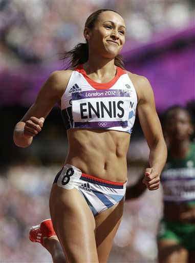 Britain&#39;s Jessica Ennis smiles after winning her 100-meter hurdles heat of the Women&#39;s Heptathlon during the athletics in the Olympic Stadium at the 2012 Summer Olympics, London, Friday, Aug. 3, 2012. &#40;AP Photo&#47;Anja Niedringhaus&#41; <span class=meta>(AP Photo&#47; Anja Niedringhaus)</span>