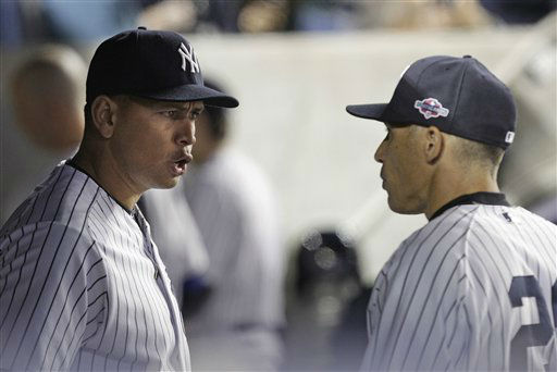 New York Yankees&#39; Alex Rodriguez, left, talks to manager Joe Girardi during the 10th inning of Game 3 against the Baltimore Orioles in the American League division baseball series Wednesday, Oct. 10, 2012, in New York. The Yankees won 3-2. &#40;AP Photo&#47;Kathy Willens&#41; <span class=meta>(AP Photo&#47; Kathy Willens)</span>
