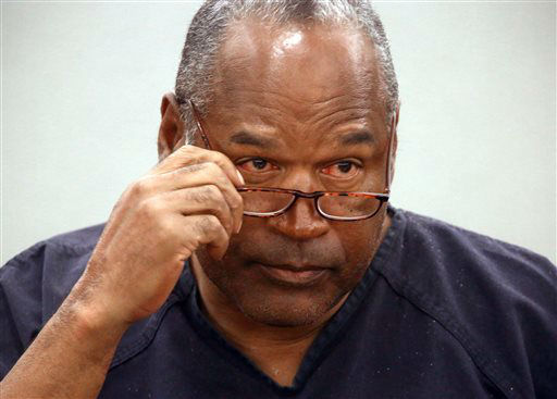 O.J. Simpson removes his glasses as he testifies during an evidentiary hearing in Clark County District Court, Wednesday, May 15, 2013 in Las Vegas. Simpson, who is currently serving a nine to 33-year sentence in state prison as a result of his October 2008 conviction for armed robbery and kidnapping charges, is using a writ of habeas corpus, to seek a new trial, claiming he had such bad representation that his conviction should be reversed. &#40;AP Photo&#47;Las Vegas Review-Journal, Jeff Scheid, Pool&#41; <span class=meta>(AP Photo&#47; Jeff Scheid)</span>