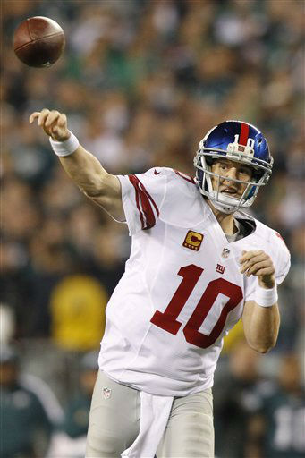 New York Giants quarterback Eli Manning &#40;10&#41; throws a pass against the Philadelphia Eagles during the second half of an NFL football game Sunday, Sept. 30, 2012, in Philadelphia. &#40;AP Photo&#47;Mel Evans&#41; <span class=meta>(AP Photo&#47; Mel Evans)</span>