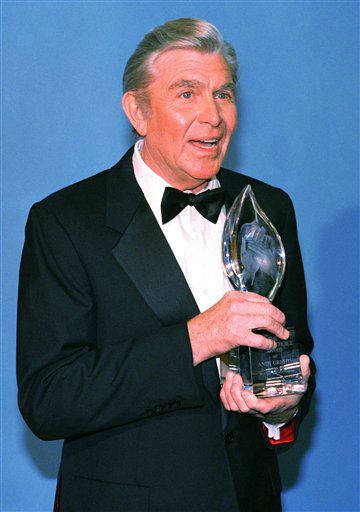 "<div class=""meta image-caption""><div class=""origin-logo origin-image ""><span></span></div><span class=""caption-text"">Actor Andy Griffith is all smiles following his being named top male performer in a new TV program, ?Matlock?, at the 13th Annual People?s Choice Awards, Sunday, March 15, 1987 in Santa Monica, California. (AP Photo/Mark Avery) (AP Photo/ Mark Avery)</span></div>"